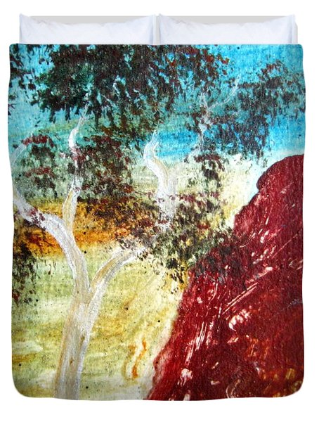 Duvet Cover featuring the painting Ayers Rock Australia Uluru 2 by Roberto Gagliardi