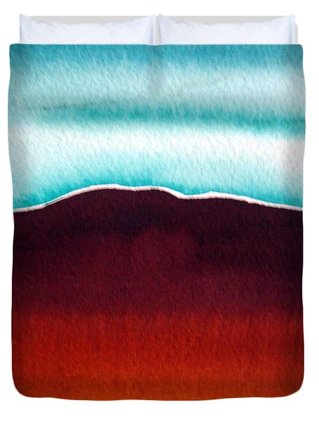 Duvet Cover featuring the painting Ayers Rock Australia Uluru 3 by Roberto Gagliardi