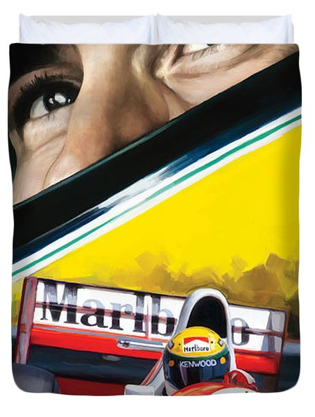 Duvet Cover featuring the painting Ayrton Senna Artwork by Sheraz A