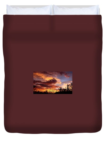 Duvet Cover featuring the photograph Az Monsoon Sunset by Elaine Malott