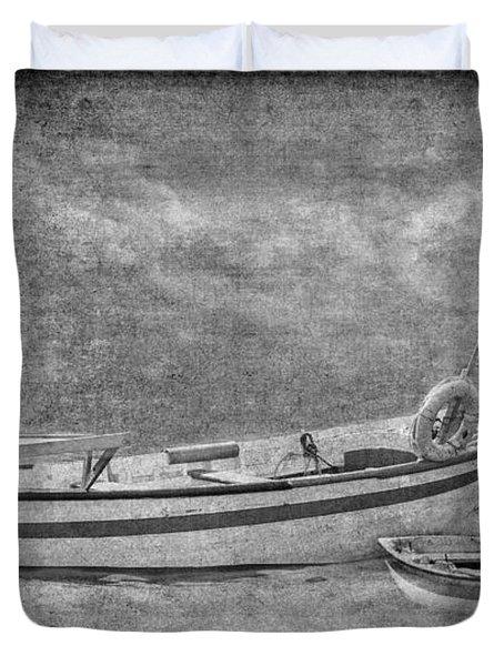 Azorean Fishing Boats B/w Duvet Cover