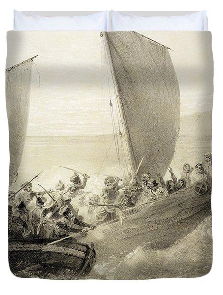 Azov Cossacks Boarding A Turkish Corsair Duvet Cover