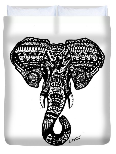 Aztec Elephant Head Duvet Cover by Loren Hill