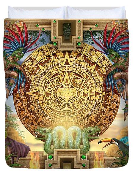 Aztec Mayhem Montage Duvet Cover by Ciro Marchetti