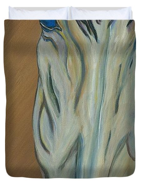 Duvet Cover featuring the painting Azul by Ella Kaye Dickey