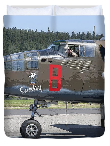 B-25 Bomber Pre-flight Check Duvet Cover by Daniel Hagerman