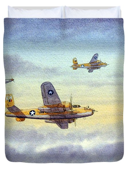 B-25 Mitchell Duvet Cover by Bill Holkham
