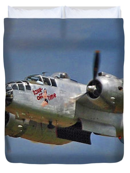 B-25 Take-off Time 3748 Duvet Cover