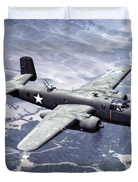 B-25 World War II Era Bomber - 1942 Duvet Cover by Daniel Hagerman