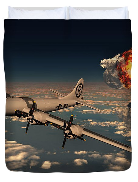 B-29 Superfortress Flying Away Duvet Cover