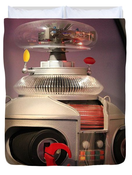 Duvet Cover featuring the photograph B-9 Robot From Lost In Space by Cynthia Snyder