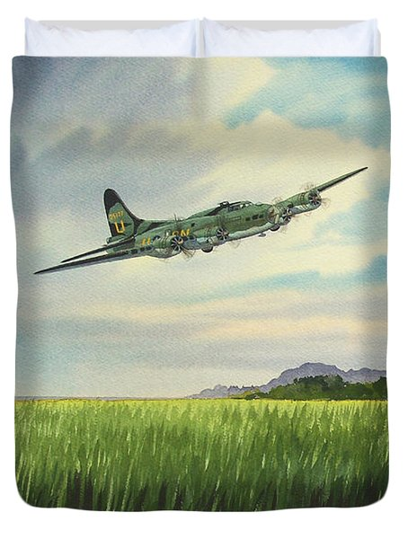 B17 Over Norfolk England Duvet Cover by Bill Holkham