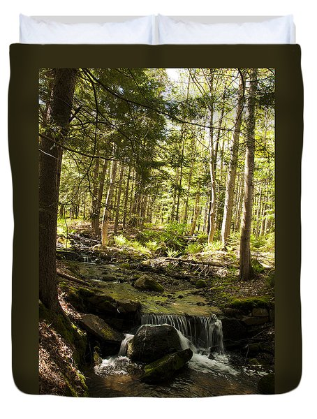 Duvet Cover featuring the photograph Babbling Battie Brook by Daniel Hebard