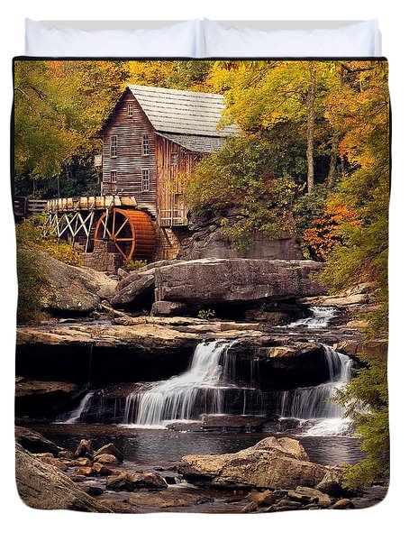Duvet Cover featuring the photograph Babcock Grist Mill And Falls by Jerry Fornarotto