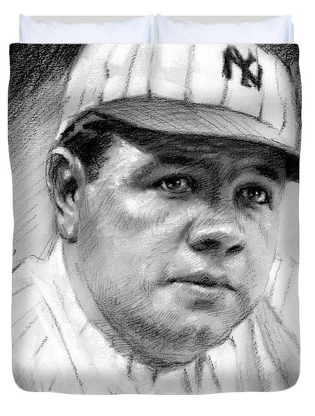 Duvet Cover featuring the drawing Babe Ruth by Viola El