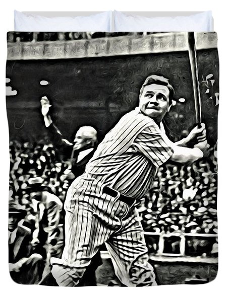 Babe Ruth Painting Duvet Cover by Florian Rodarte