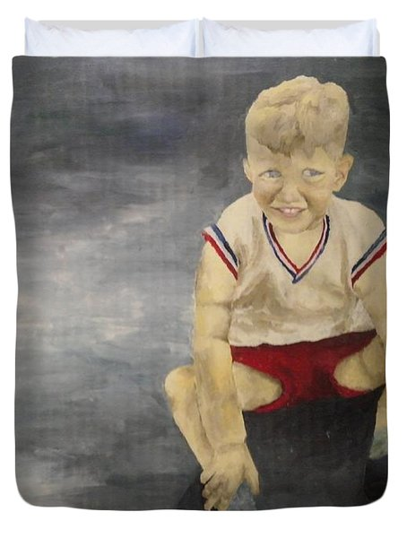 Duvet Cover featuring the painting Baby Bill  by Mary Ellen Anderson