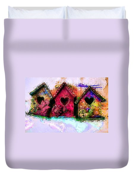Baby Birdhouses Duvet Cover
