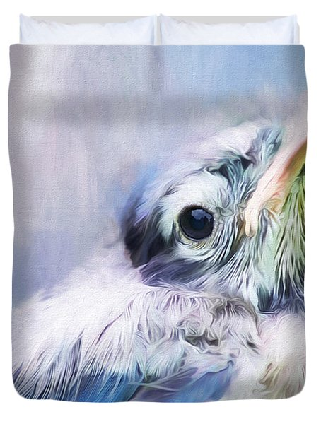 Baby Blue Jay Duvet Cover by Darren Fisher