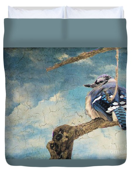 Baby Blue Jay In Winter Duvet Cover by Janette Boyd