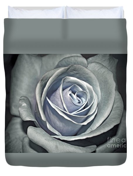 Duvet Cover featuring the photograph Baby Blue Rose by Savannah Gibbs