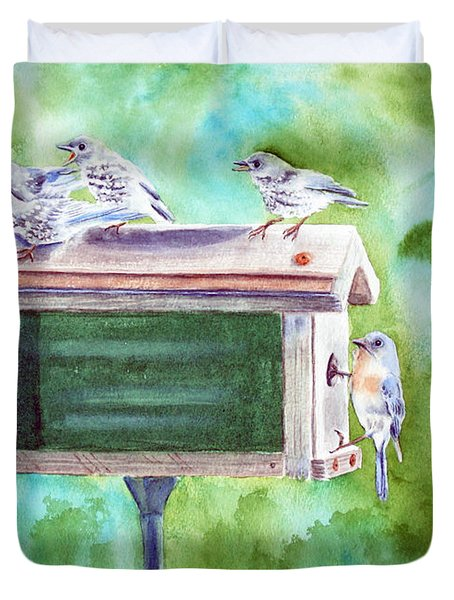 Baby Blues - Eastern Bluebird Family Duvet Cover by Kathryn Duncan