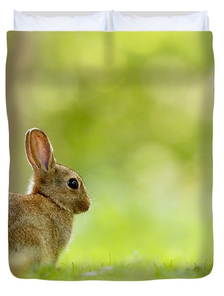 Baby Bunny In The Forest Duvet Cover
