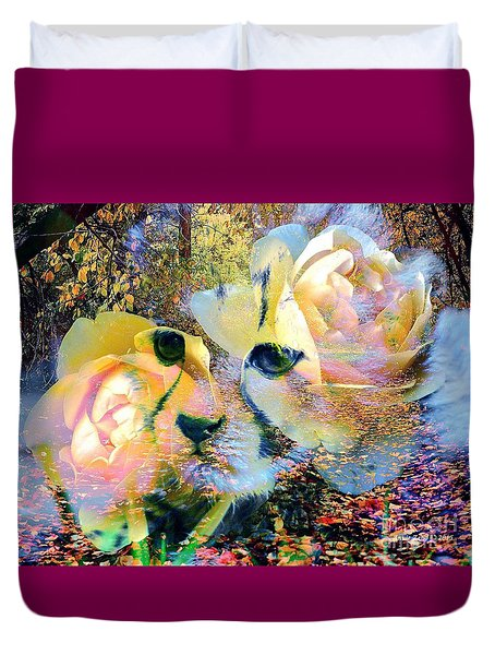 Baby Cheetah And Roses In Wilderness Duvet Cover