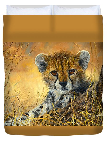 Baby Cheetah  Duvet Cover by Lucie Bilodeau