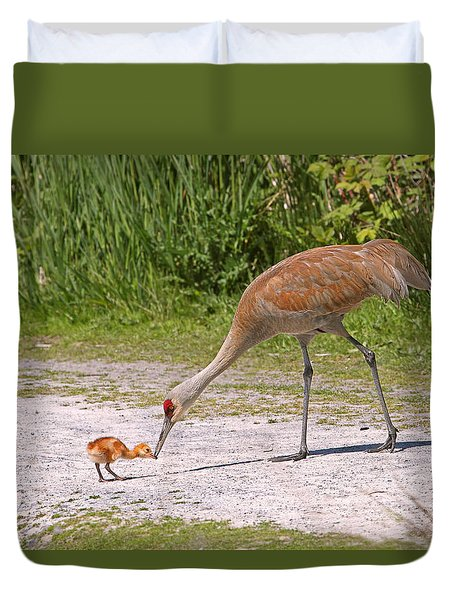 Baby Crane With Mother Duvet Cover