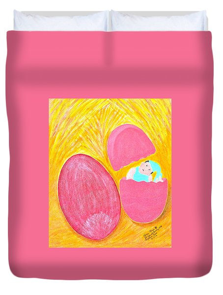 Duvet Cover featuring the painting Baby Egg by Lorna Maza