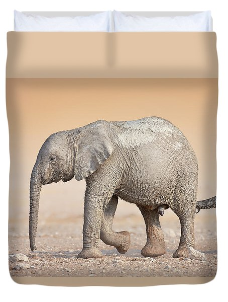 Baby Elephant  Duvet Cover by Johan Swanepoel
