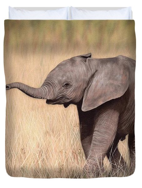 Elephant Calf Painting Duvet Cover