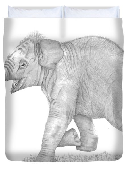 Duvet Cover featuring the drawing Baby Elephant by Patricia Hiltz