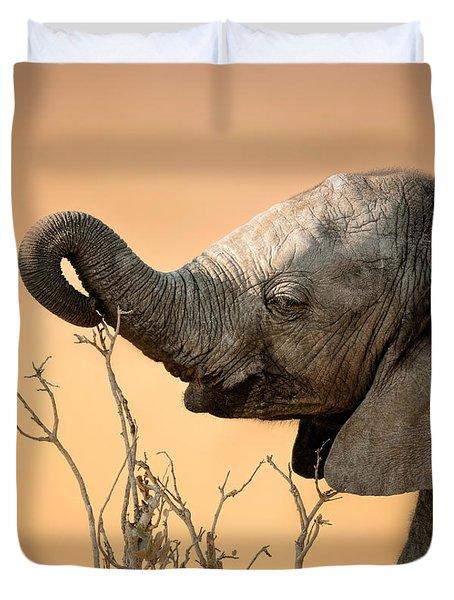 Baby Elephant Reaching For Branch Duvet Cover