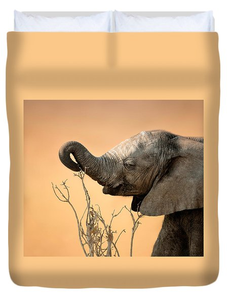 Baby Elephant Reaching For Branch Duvet Cover by Johan Swanepoel