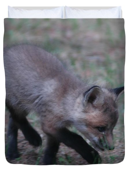 Baby Fox Playing With Blade Of Grass Duvet Cover