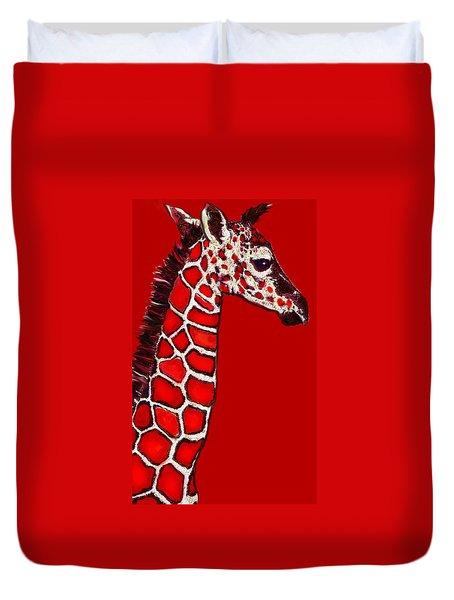 Baby Giraffe In Red Black And White Duvet Cover