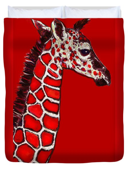 Baby Giraffe In Red Black And White Duvet Cover by Jane Schnetlage