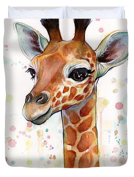 Baby Giraffe Watercolor  Duvet Cover