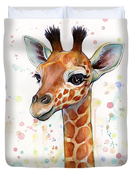 Baby Giraffe Watercolor  Duvet Cover by Olga Shvartsur