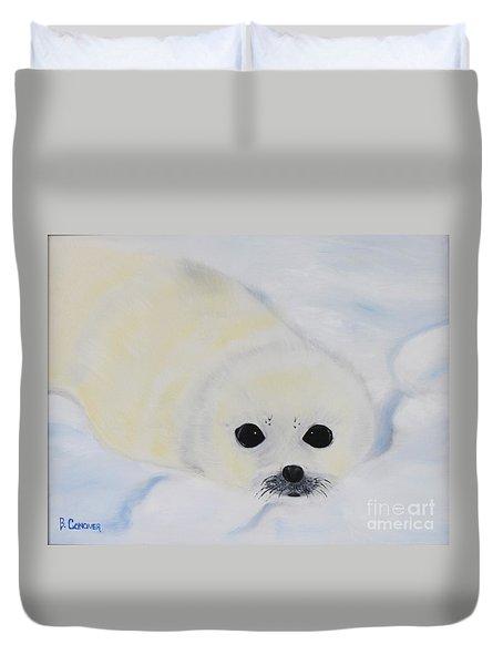 Baby Harp Seal Duvet Cover by Bev Conover