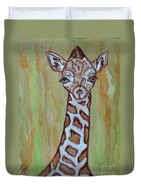 Duvet Cover featuring the painting Baby Longneck Giraffe by Ella Kaye Dickey