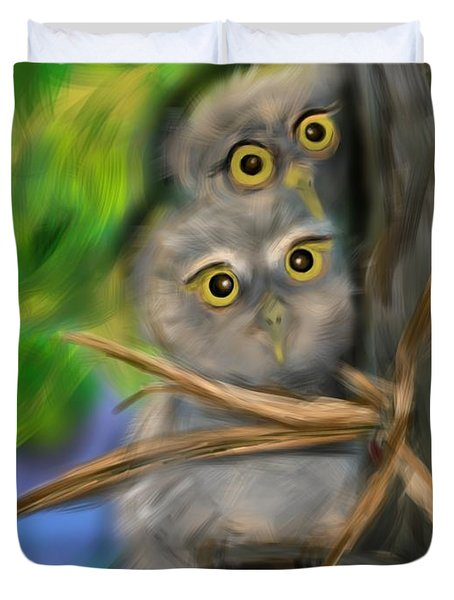 Duvet Cover featuring the digital art Baby Owls by Christine Fournier