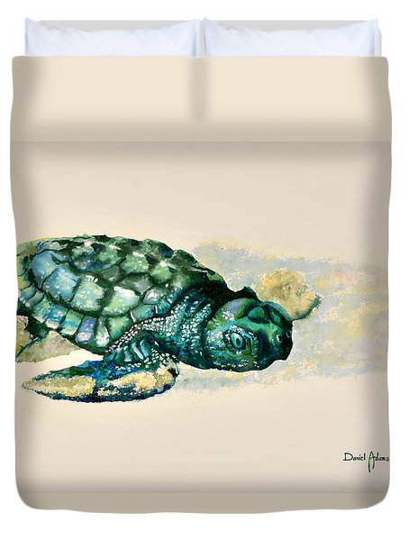 Da150 Baby Sea Turtle By Daniel Adams  Duvet Cover