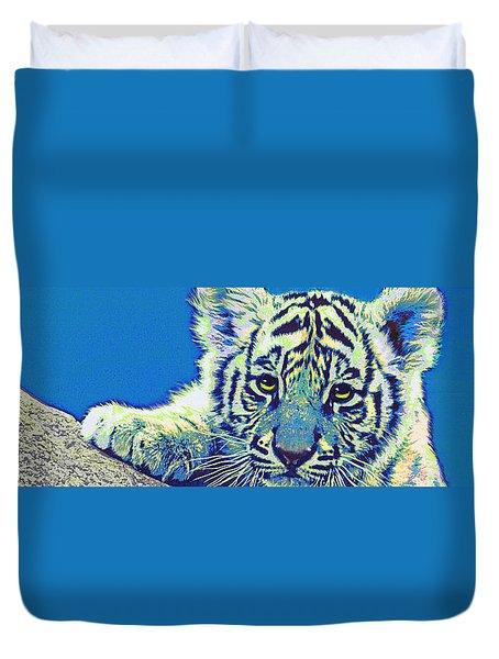 Baby Tiger- Blue Duvet Cover by Jane Schnetlage