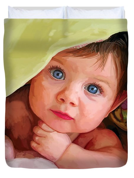 Duvet Cover featuring the painting Baby Under Blanket by Tim Gilliland