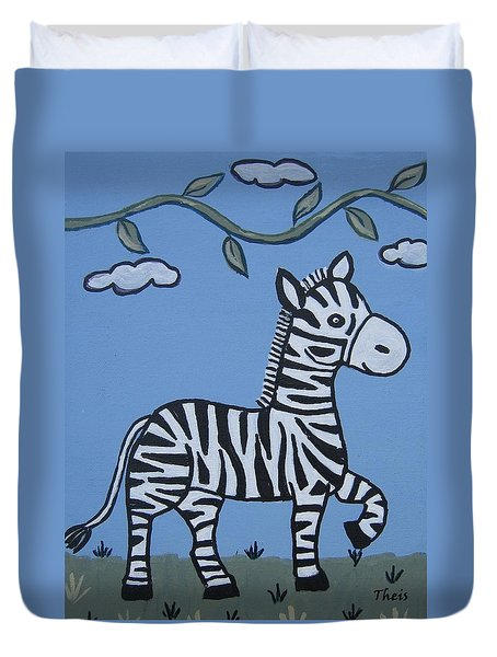 Duvet Cover featuring the painting Baby Zebra by Suzanne Theis