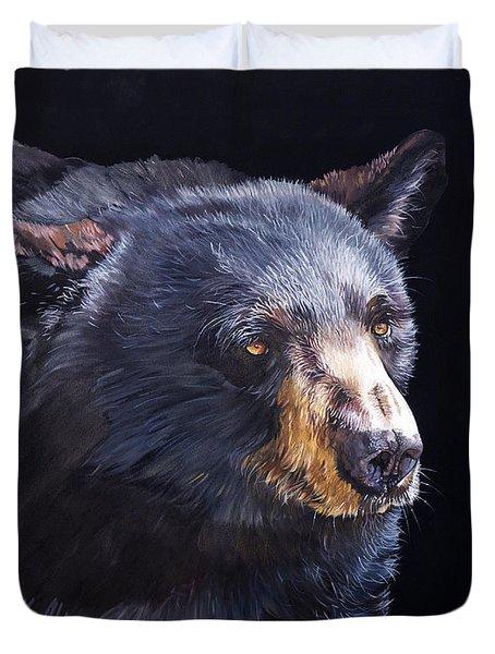 Back In Black Bear Duvet Cover