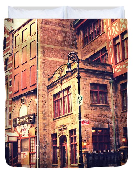 Back In Time - Stone Street Historic District - New York City Duvet Cover by Vivienne Gucwa
